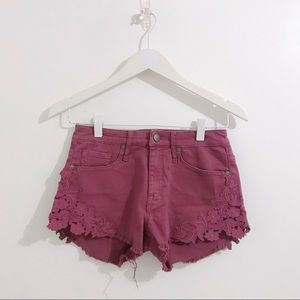Raspberry Lace Embellished Shorts